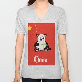 China Panda Cartoon poster Unisex V-Neck