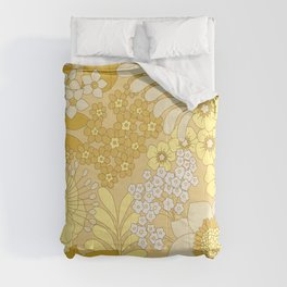 Yellow, Ivory & Brown Retro Floral Pattern Comforters