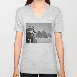 Sloth in Egypt in front of the pyramids Unisex V-Neck