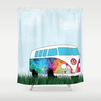vw bus Shower Curtains featuring Hippie Bus by KookyWhale