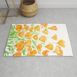 orange California  poppy watercolor Rug