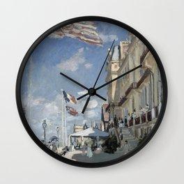 1870-Claude Monet-Hôtel des roches noires. Trouville-58 x 81 Wall Clock