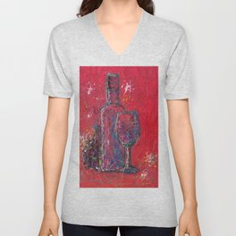 Fun Colorful Modern Wine Art  Fun Colorful Modern Wine Art (wine bottle & glasses) by lena owens Unisex V-Neck