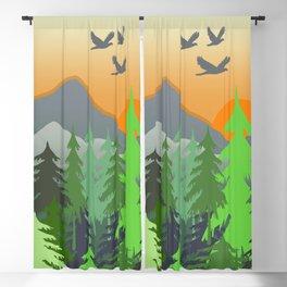 Mountain - Birds - Trees - Landscape  Sunrise Blackout Curtain
