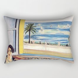 Seated Woman, Back Turned to the Open Window of Ocean & Seaside by Henri Matisse Rectangular Pillow