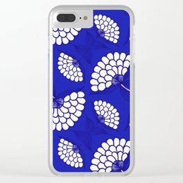 African Floral Motif on Royal Blue Clear iPhone Case