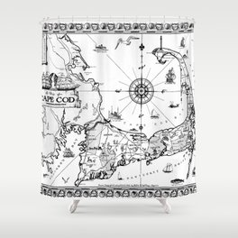 Vintage Map Of Cape Cod BW Shower Curtain