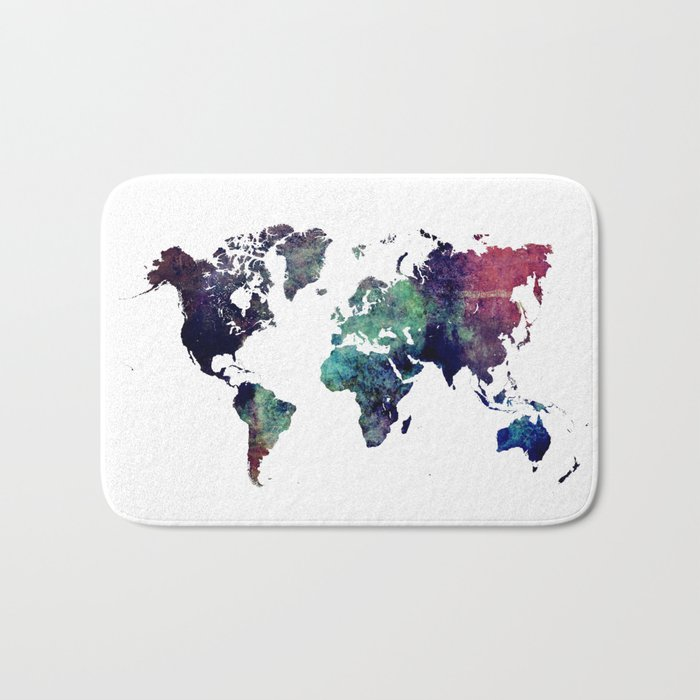 Map of the World After Ice Age Bath Mat