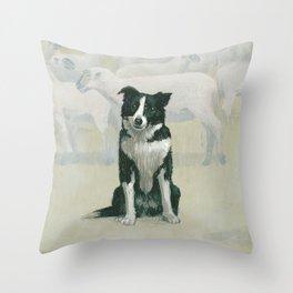 border collie herding dog Throw Pillow