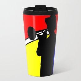 Jazz trombone player silhouette mondrian colors Travel Mug
