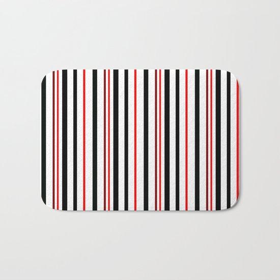 Red, black white striped pattern . Bath Mat