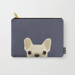 French Bulldog Peek - Cream on Navy Carry-All Pouch