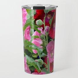 DECORATIVE PINK & RED GARDEN HOLLYHOCKS Travel Mug