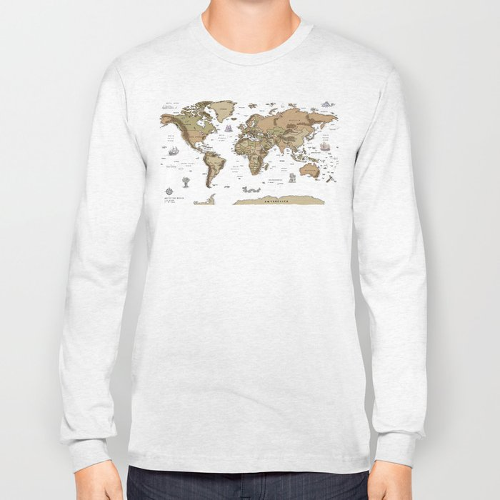 World Treasure Map Long Sleeve T-shirt