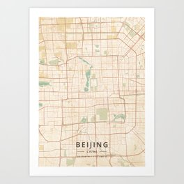 Beijing, China - Vintage Map Art Print