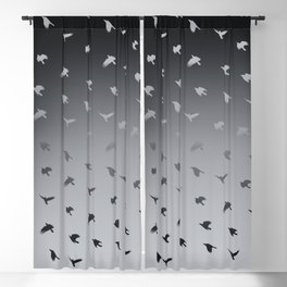 Crows Flying Ombre Pewter Blue Grey Blackout Curtain