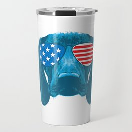 Womens German Shorthair Pointer 4th July | USA American Flag Funny V-Neck T-Shirt Travel Mug