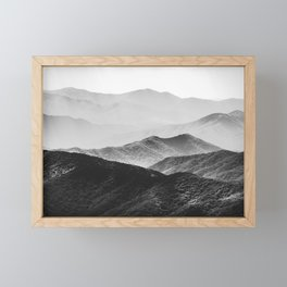 Glimpse - Black and White Mountains Landscape Nature Photography Framed Mini Art Print