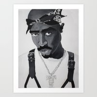 tupac Art Prints featuring Pop Cult™ - Tupac 2 by Lina Barbarin - Pop Cult™ & Aminals™