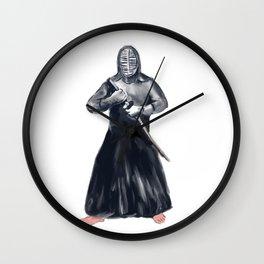 Kendoka Kendo Swordsman Watercolor Wall Clock