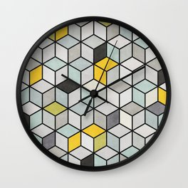 Colorful Concrete Cubes - Yellow, Blue, Grey Wall Clock
