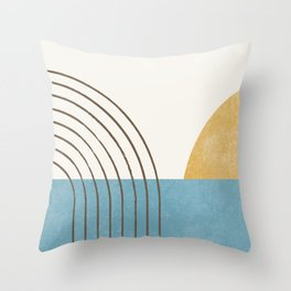 Sunny Ocean Horizon Throw Pillow