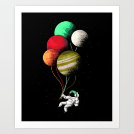 Astronaut Floating In Space With Planet Balloons Art Art Print