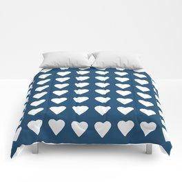 64 Hearts Navy Comforters