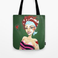 valentina Tote Bags featuring Valentina by Lagoonartastic