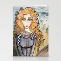 black widow Stationery Cards featuring Widow by Aleksandra Jevtovic