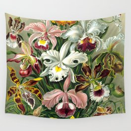 Vintage 1865 Botanical Orchids Wall Tapestry
