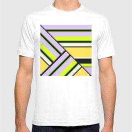 Striped , multi-colored , asymmetric combination pattern . Patchwork . T-shirt