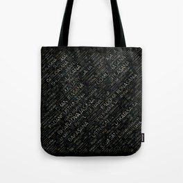 Yoga Asanas / Poses Sanskrit Word Art Tote Bag