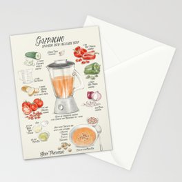 Gazpacho illustrated recipe in English Stationery Cards