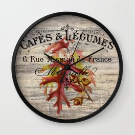 Fall autumn harvest french botanical print oak leaf acorn Wall Clock