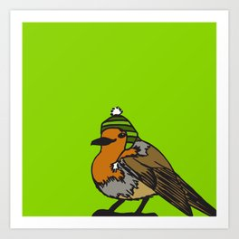 Robin in a hat Art Print