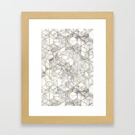 White marble geomeric pattern in gold frame Framed Art Print