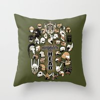 fandom Throw Pillows featuring Helmets of fandom - respect the head! by CaptainLaserBeam