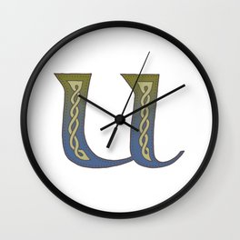 Celtic Knotwork Alphabet - Letter U Wall Clock