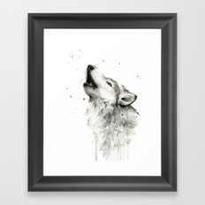 Wolf Howling Watercolor Animals Wildlife Painting Animal Portrait Framed Art Print
