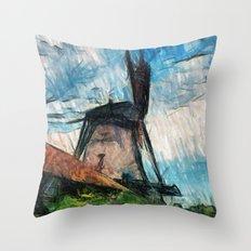 skatching windmill  Throw Pillow