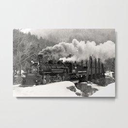 Durango & Silverton #486 Black and White Train Photo, Steam Train Photography, Durango Colorado Art Metal Print