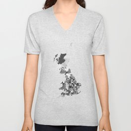 Great Britain Map Print Abstract in Camouflage Black and White - A great talking piece for the home! Unisex V-Neck