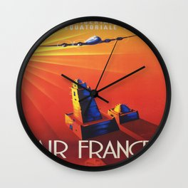 Vintage Mid Century Travel Poster Air France Jet African Islamic Mosque Monochrome Orange Sunset Wall Clock