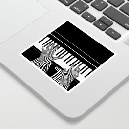 B&W Pianist Sticker