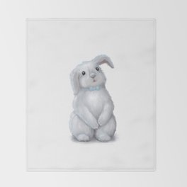 White Rabbit Boy isolated Throw Blanket