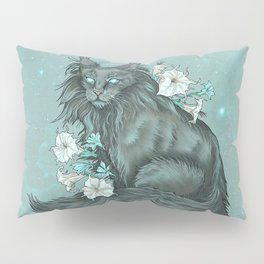 Maine Coon Cat and Moonflowers Pillow Sham