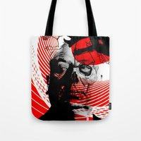 psycho Tote Bags featuring psycho by RIGOLEONART