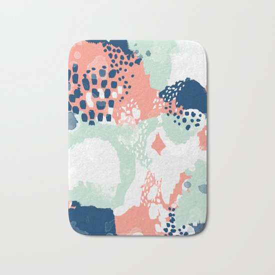 Bristol - acrylic painting abstract navy mint coral modern color palette Bath Mat