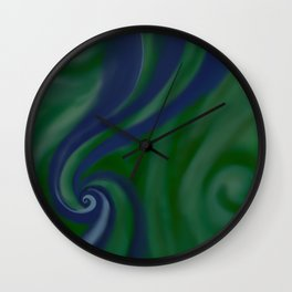 BLUE and green SWIRL Wall Clock